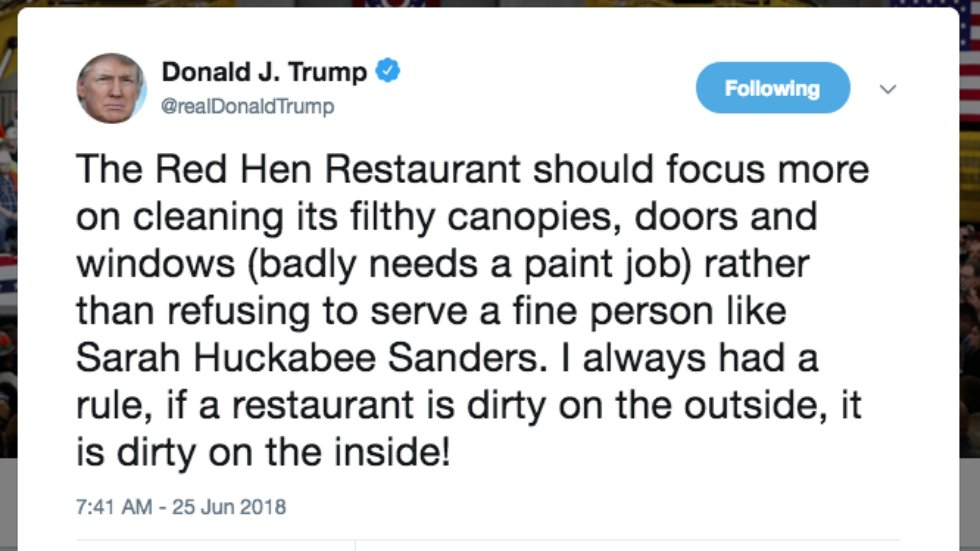Trump attacks restaurant that refused to serve Sarah Sanders https://t.co/C7dkn7R2Wq https://t.co/lJarMnKd74