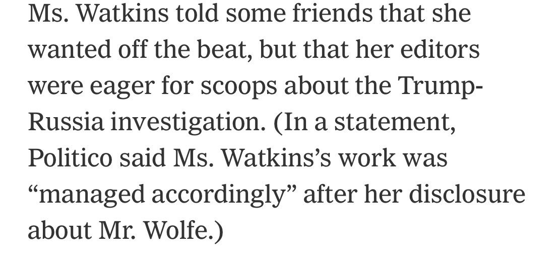 The Times journalists go close to accusing some of Wolfe's editors for prostituting her out for information. 'She wanted off the beat, but they wanted Senate Intel scoops'   Watkins says she told @politico about the second Senate Intel staffer she slept with; they deny it. <br>http://pic.twitter.com/TJamJfJUyQ