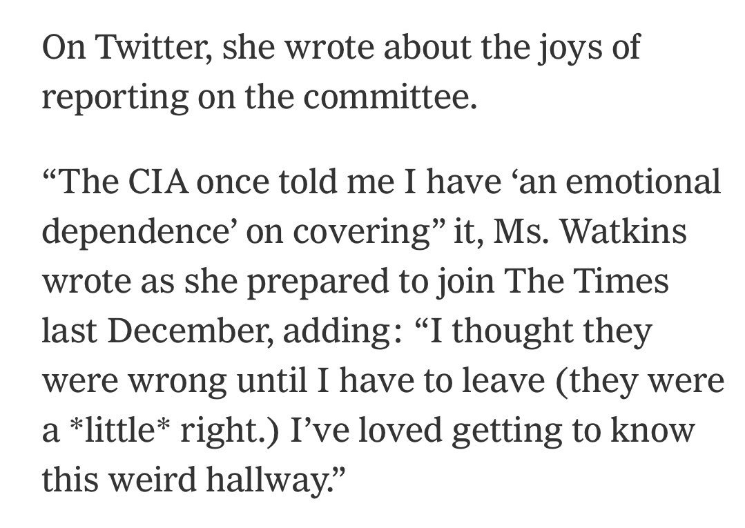 """Finally - there's too much in this story - the @CIA obviously knew whom @AliWatkins was sleeping with and hinted as much to her """"You have an emotional attachment to Senate Intel Cttee"""". She laughed at them for that. Ouch. <br>http://pic.twitter.com/i7ET5UAyGT"""
