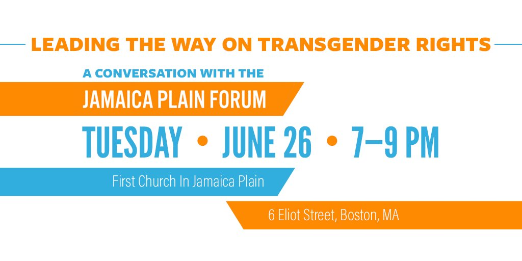 Tomorrow night in #JamaicaPlain, we'll join with local leaders and activists for an important Town Hall! Join us from 7-9pm to learn how you can take action locally to uphold #TransLawMA: https://t.co/aIAw5cQGBt #MAPoli