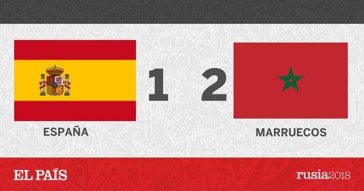 Marruecos se adelanta en el marcador a España en el minuto 80 #ESP 1 - 2 #MAR #Rusia2018 https://t.co/Jb4U85IZaZ https://t.co/sTPUO6Np5m
