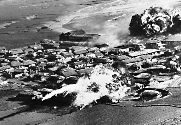 The first in the series of #TheyHateUsForOurFreedom   The first time U.S. reigned &quot;fire and fury&quot; on North Korea, they napalmed every village and town. <br>http://pic.twitter.com/JQOWONZMQ7
