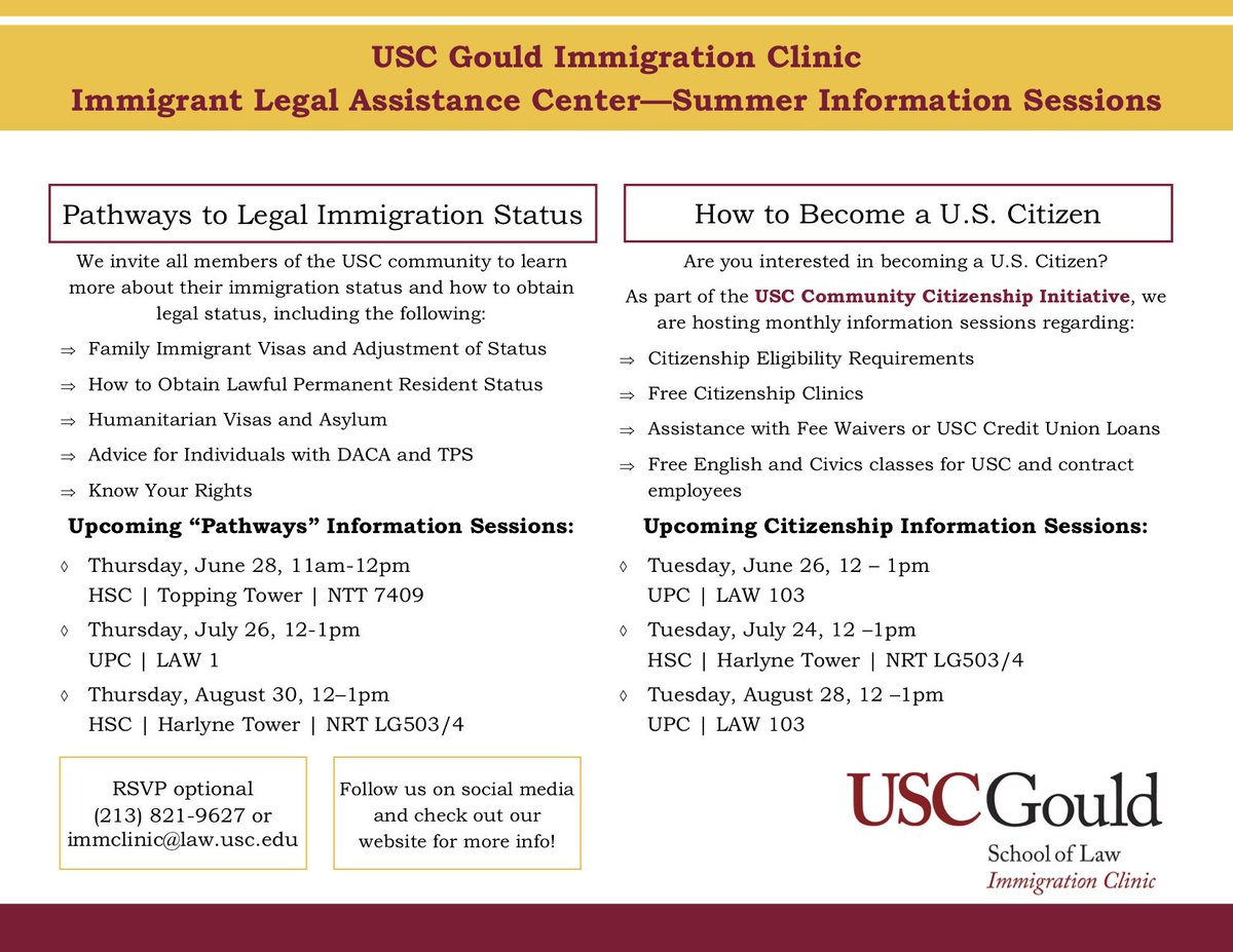 They helped me apply for citizenship, they can help you too: Join @USCGouldLaw immigration clinic for an information session on Pathways to Legal Immigration Status Thursday, June 28, 11am-12pm USC Health Sciences Campus | Topping Tower | NTT 7409 @CSII_USC @uscsocialwork @usc<br>http://pic.twitter.com/4I7kGpUdwh