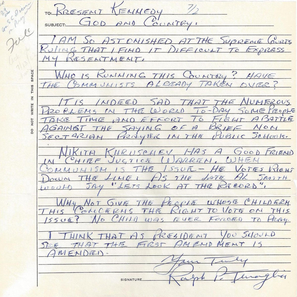 Jfk library on twitter the supreme court ruled 6 1 against school prayer otd in 1962 motivating thousands of people to write to jfk about the role of prayer in public life read some of their letters expocarfo Image collections
