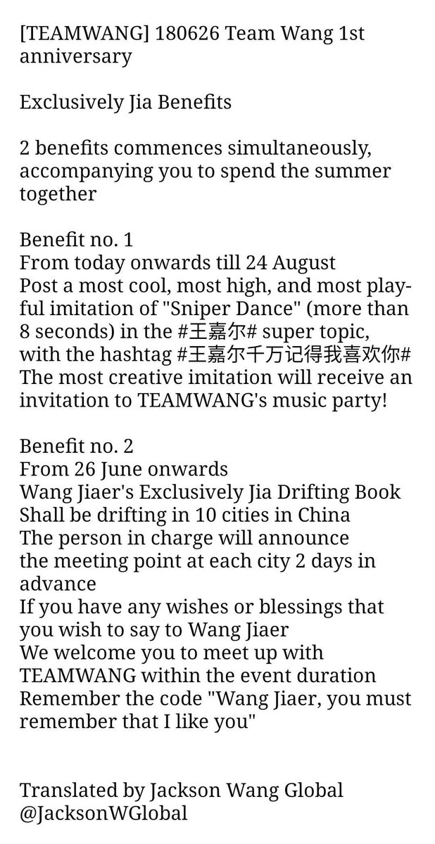 [TEAMWANG] 180626 Team Wang #JWGTRANS  20170626-20180626 @/WangJiaer&#39;s TEAMWANG is 1 year old! We thank each and every one of you in front of the screens for your support and help.  Below is the Exclusively Jia Benefits, quickly come and unlock them   #JacksonWang #王嘉尔<br>http://pic.twitter.com/TTISwefVQ1
