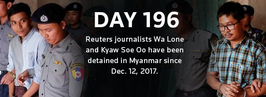 .@Reuters journalists Wa Lone and Kyaw Soe Oo have been detained in Myanmar for 196 days. See a timeline of events since their arrests:  https:// reut.rs/2yIAhXq  &nbsp;  <br>http://pic.twitter.com/7mMqYsM57C