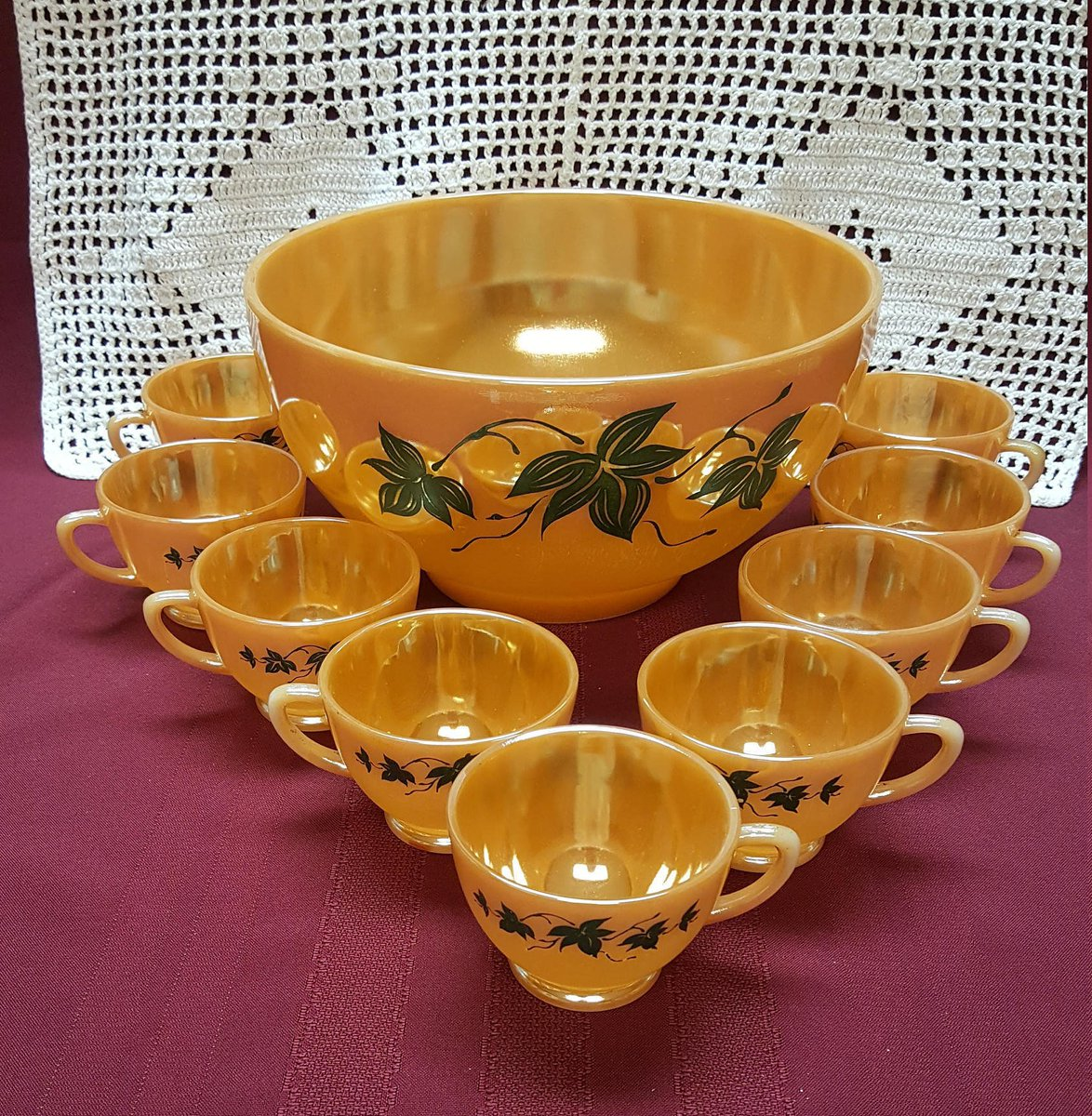 FIREKING Orange Luster PUNCHBOWL &amp; 9 Cups, Peach Lustre,  Summer Autumn Wedding, Thanksgiving, Dining Kitchen Cottage Fall Decor, Movie Prop  https:// etsy.me/2q2y5TV  &nbsp;   #AmazingFunVintage #Etsy #Amazingfunvintage<br>http://pic.twitter.com/M0uUGaJNsi