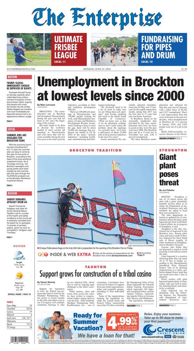 Today&#39;s Page 1, featuring #Brockton, @MetroSouth #bridgewater #Easton #Abington, #brocktonfair ... please find all the coverage at:  http:// enterprisenews.com  &nbsp;   @WickedLocal @enterprisenews #Frisbee #stonehill<br>http://pic.twitter.com/86b7mLlk5e