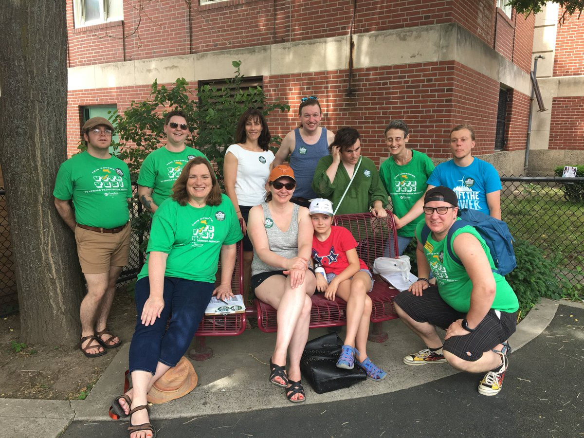 Our wonderful volunteers spent this weekend at Boston's #Jerkfest, recruiting even more volunteers to our campaign to uphold basic non-discrimination protections for our #transgender neighbors. Join this awesome crew in Boston: https://t.co/EhOVoKdeTg #TransLawMA