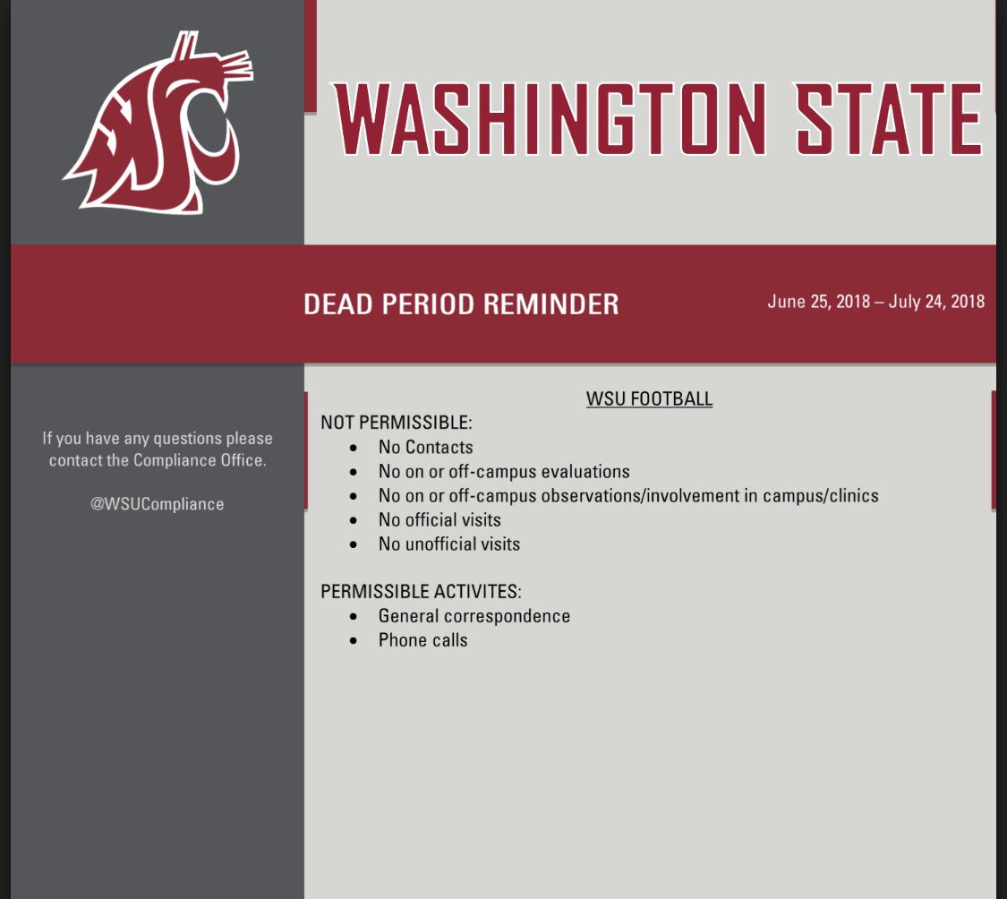 Dead Period Reminder for @WSUCougFB #GoCougs <br>http://pic.twitter.com/bnILC50P91