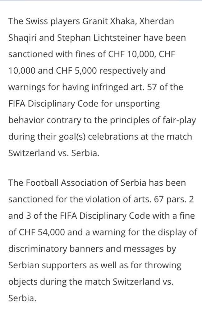 Rob Harris On Twitter Fifa Fines Argentina 105000 Swiss Francs