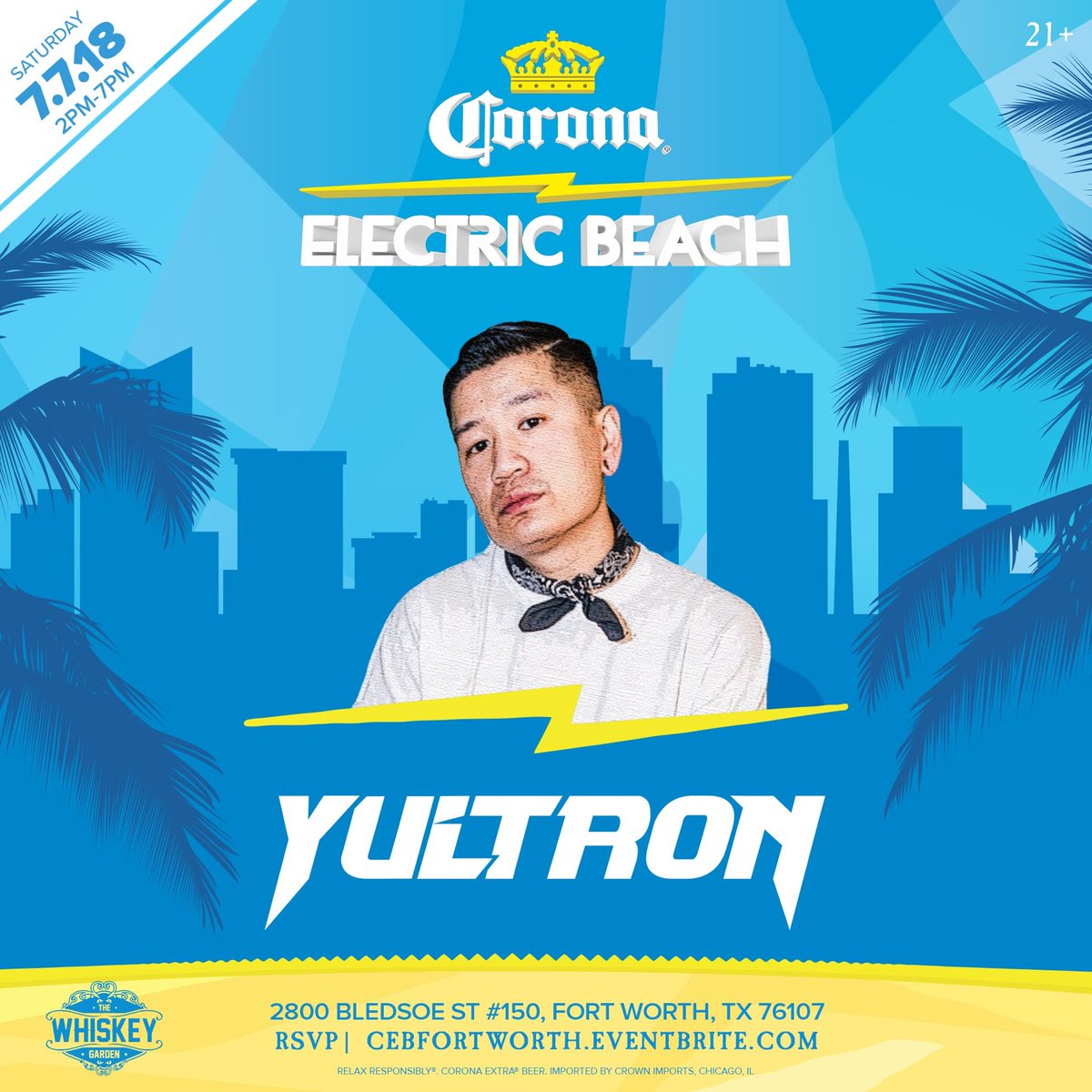 Join us poolside for Electro House and Bass sounds by @yultron Saturday, July 7th in Fort Worth  RSVP/ FREE Tickets at  http:// CEBFORTWORTH.EVENTBRITE.COM  &nbsp;    #CoronaElectricBeach<br>http://pic.twitter.com/OyzfeA5dFa