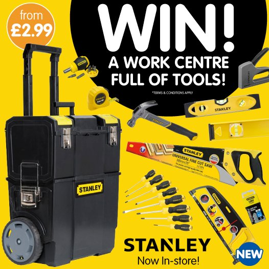 #COMPETITION TIME   We&#39;re starting the week off with a BANG, thanks to @stanleytools!  For your chance to #WIN a work centre FULL of tools, simply FOLLOW us, RETWEET this post &amp; tell us WHO should be DIY&#39;ing around your home?  COMPETITION ends 9am 2/7/18 <br>http://pic.twitter.com/k0phJ3Dv5e