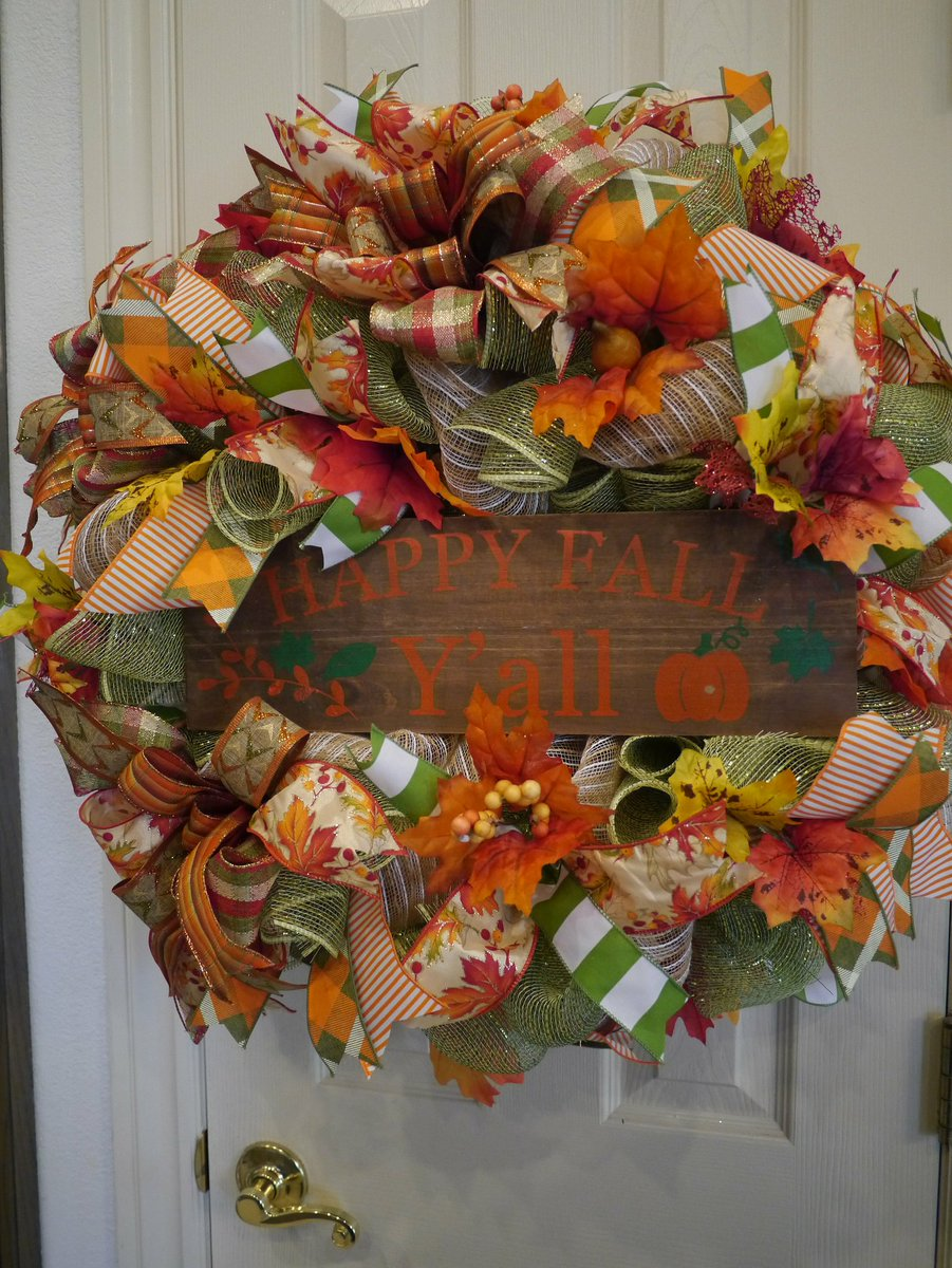Excited to share the latest addition to my #etsy shop: Fall Wreath, Fall Wreath for front door, Everyday Wreath, Autumn Wreath, Thanksgiving Wreath, Fall Deco Mesh Wreath, Happy Fall Y&amp;#39;ll Decor  https:// etsy.me/2MmGkTr  &nbsp;  <br>http://pic.twitter.com/MVhW02aBjG