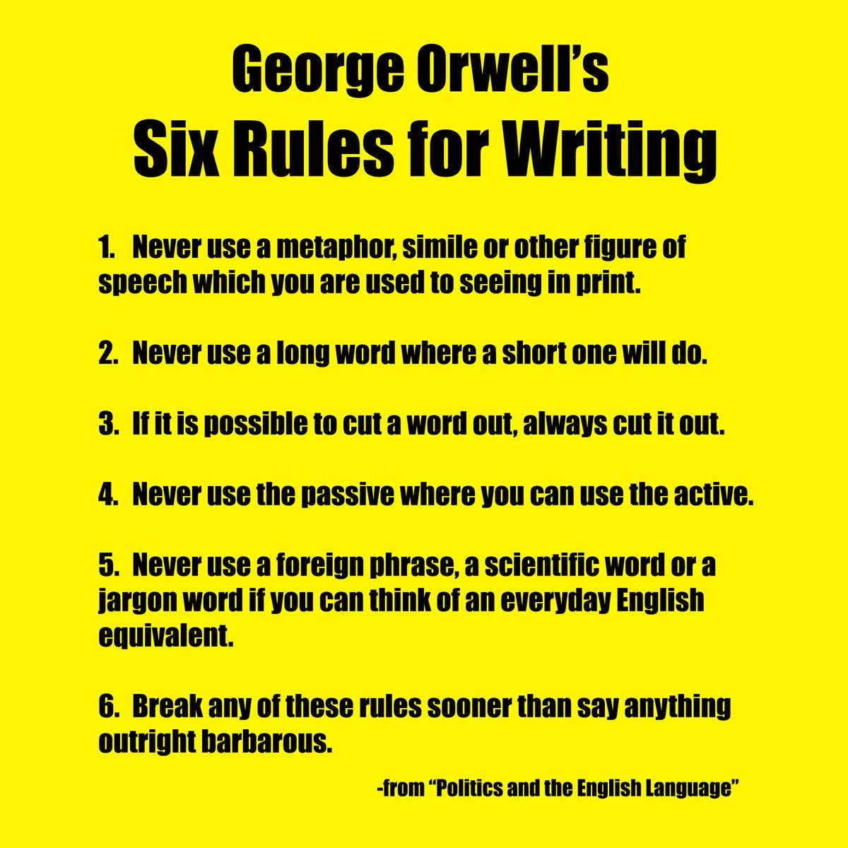 lcc library on twitter in honor of george orwells birthday here   from his essay politics and the english language available in  shooting an elephant and other essays on the th  floorpictwittercomsreplfpzj