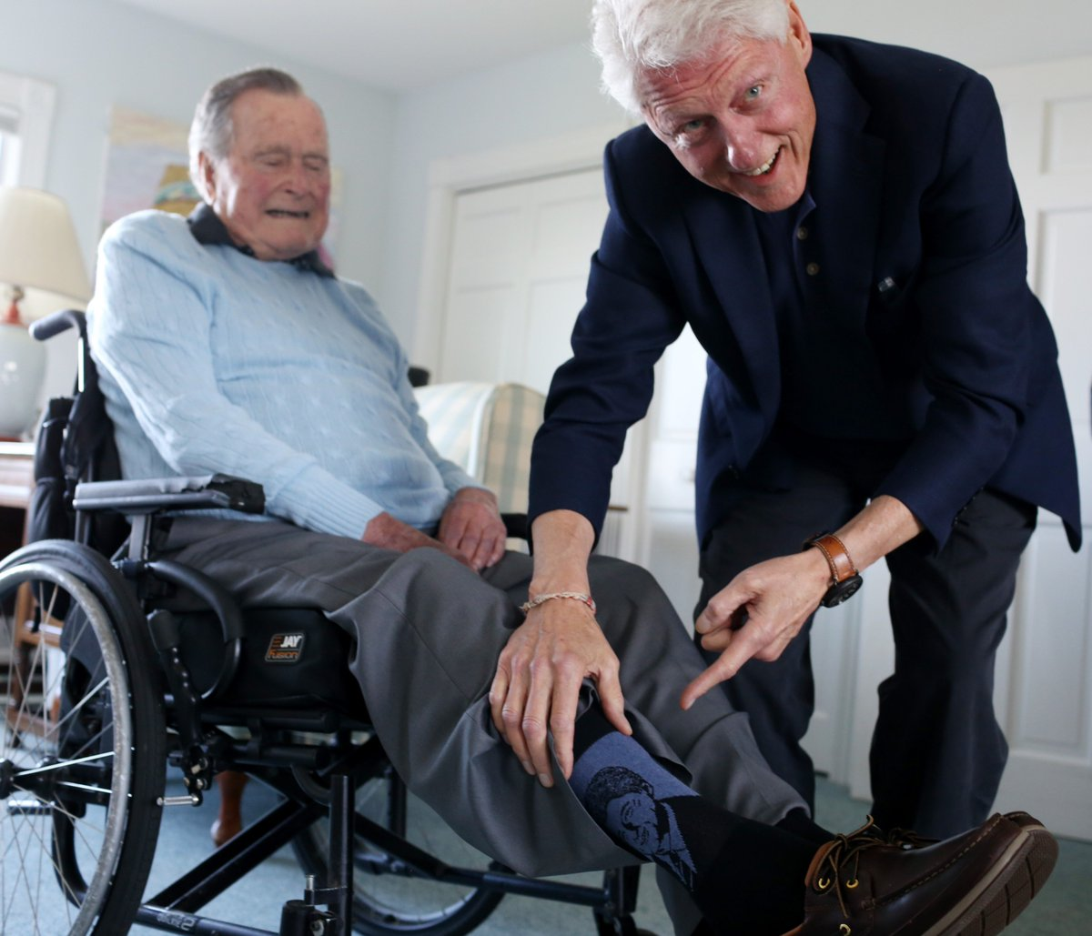 Special visit today with a great friend -- and now, a best-selling author. Luckily I had a freshly laundered pair of @BillClinton socks to mark the occasion.