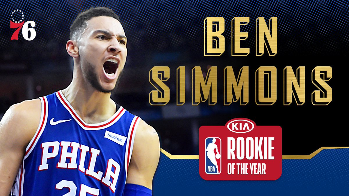 .@BenSimmons25 is (officially) your @Kia Rookie of the Year! #KiaROY  #HereTheyCome x #NBAAwards