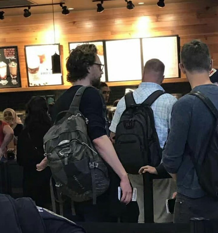 Tom Hiddleston and Tom Holland at Seattle Airport today.