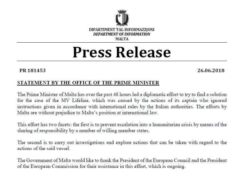 """Government of Malta 🇲🇹 on Twitter: """"📝PRESS RELEASE ..."""