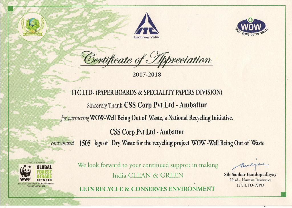 Css Corp On Twitter Csr We Have Stopped 15 Ton Of Printed