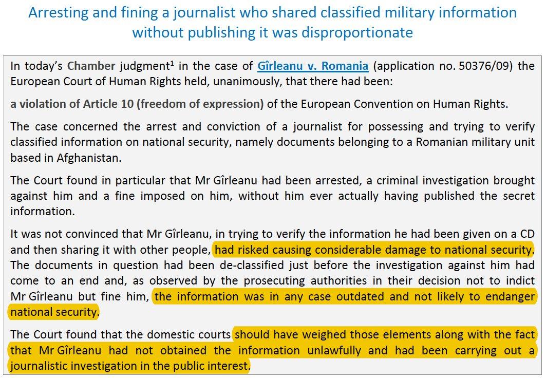 Liberté d'enquête des #journalistes : L'arrestation & la condamnation d'un #journaliste pour avoir détenu et enquêté sur des informations classifiées sur la sécurité nationale violent la #CEDH => https://bit.ly/2tAZiOA