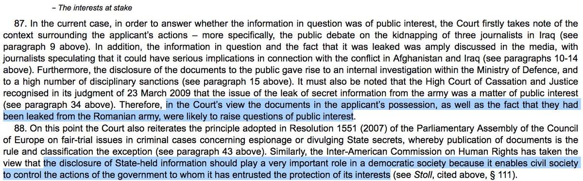 """A noter : La #CEDH rappelle fermement que """"la divulgation d'informations détenues par l'Etat joue un rôle primordial dans une société démocratique, car cela permet à la société civile de contrôler les activités du #gouvernement auquel elle a confié la protection de ses intérêts"""""""