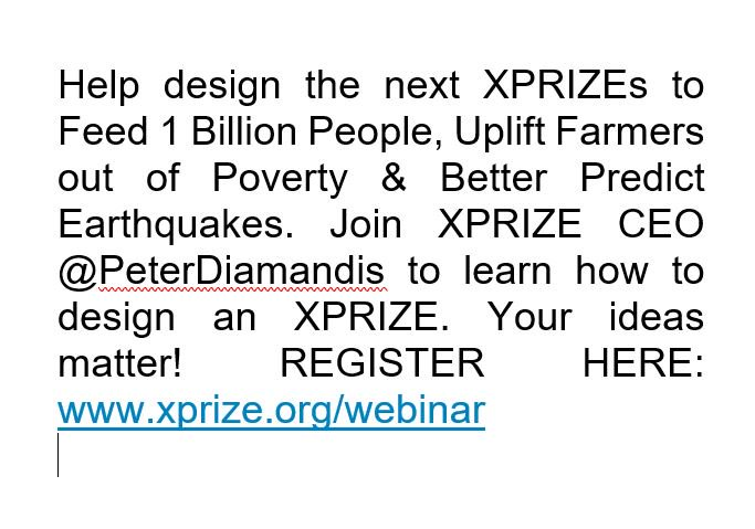 The attached tweet could help fulfill a design to feed 1 billion people. Please see attached.