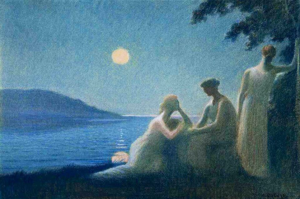 RT @_ahsanR: Moon is the light from a lantern in heaven. - Munia Khan  #quote #painting  Alphonse Osbert https://t.co/9V2zPHYYxk