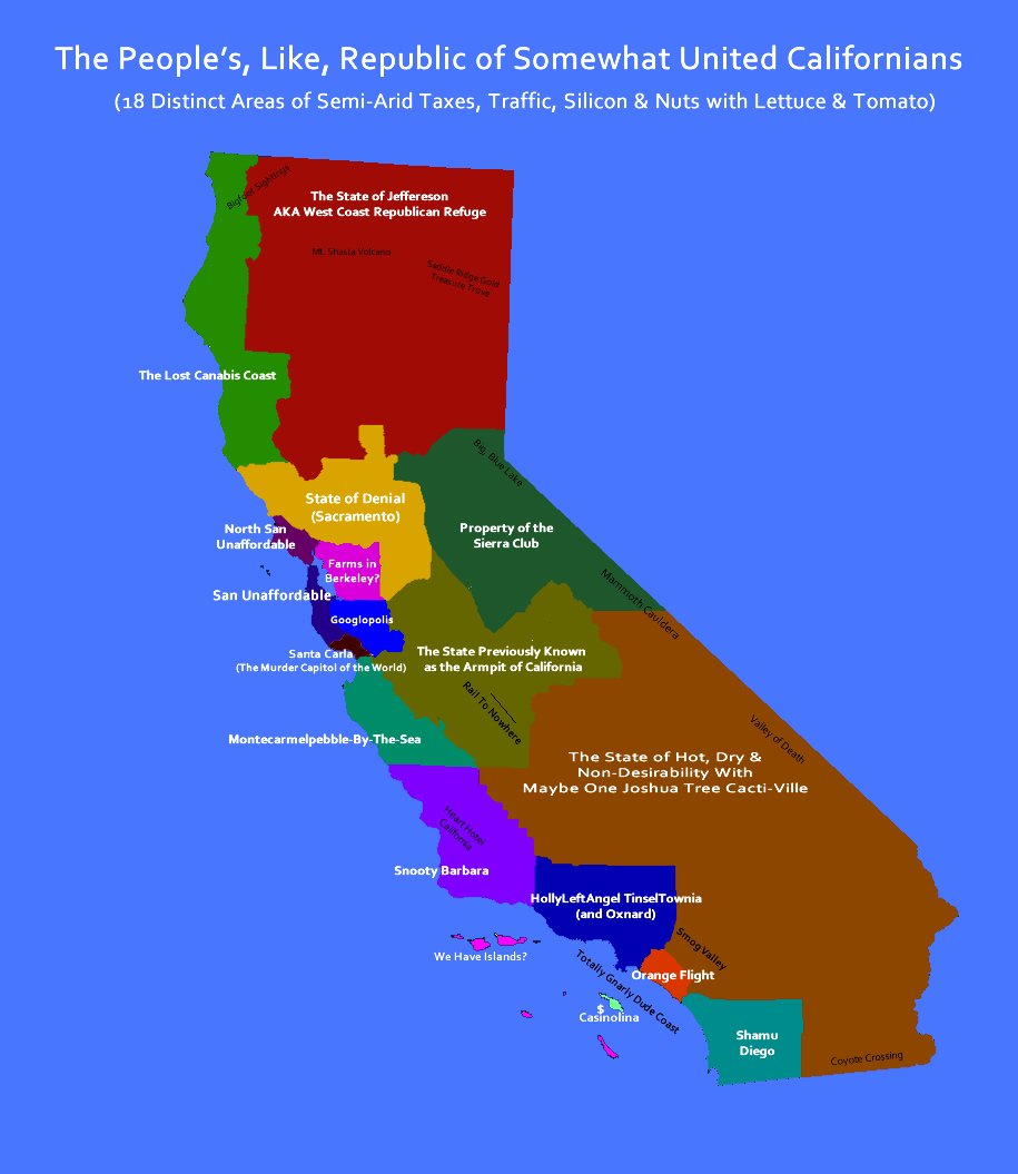 Map Of California Funny.California 3 States Map Image Slny