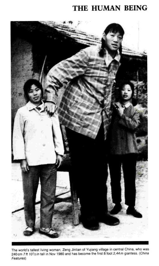 """GWR2022 OUT NOW on Twitter: """"#OnThisDay in 1964, tallest woman ever record  holder Zeng Jinlian was born. Jinlian was from Yujiang village in the  Bright Moon Commune, Hunan Province, China. She measured"""