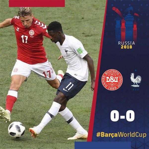 👍 ¡Felicidades a @Dembouz y @samumtiti por la primera posición del grupo C de #Rusia2018 con @equipedefrance! 🇫🇷 🔵🔴 #BarçaWorldCup