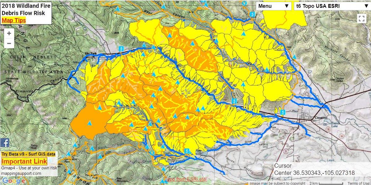 Philmont New Mexico Map.Joseph Elfelt On Twitter Google Gis Map Shows Risk Of Debris