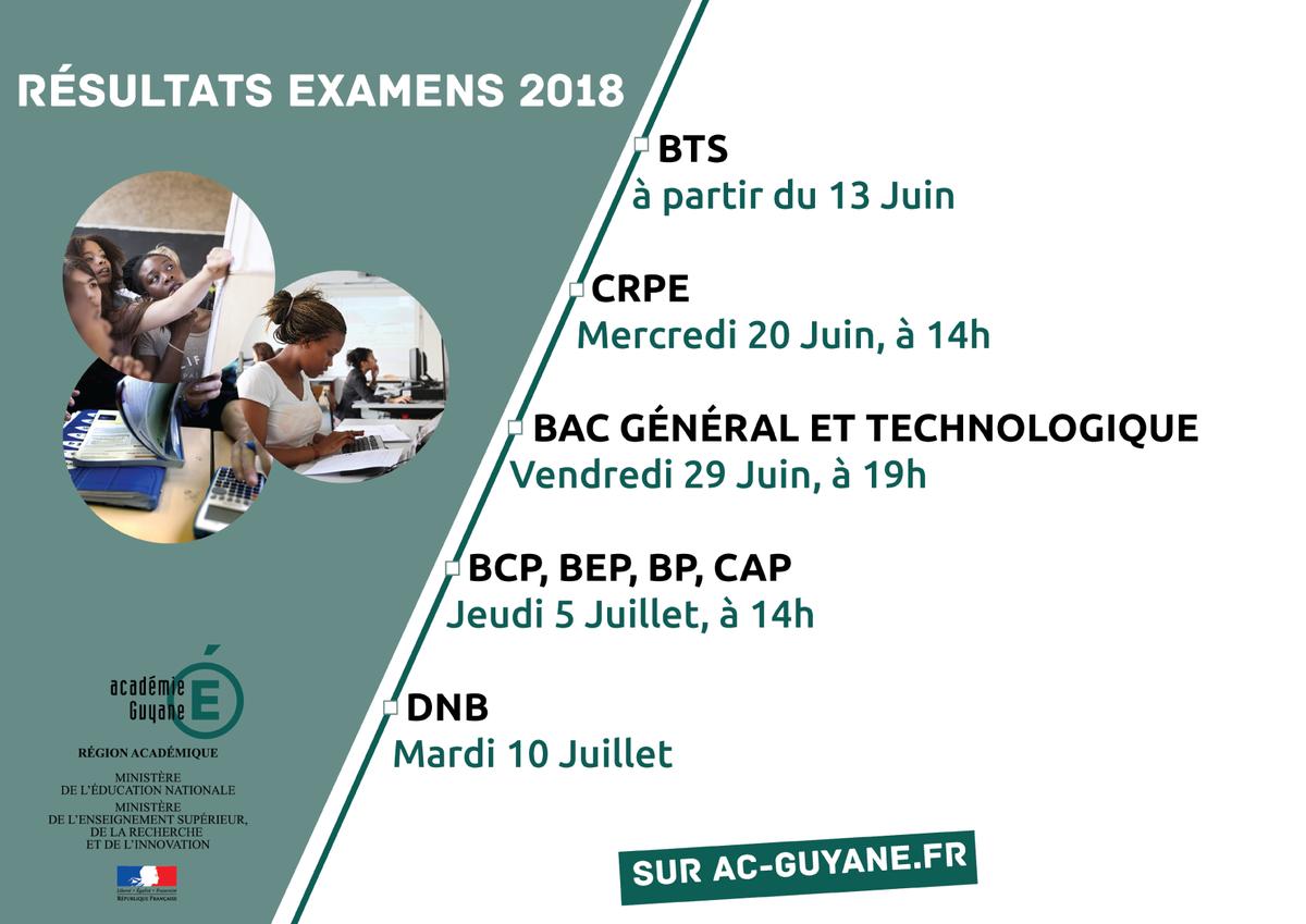 Académie de Guyane on Twitter: \ ... dates des résultats d'examens sont disponibles. Rendez-vous le Vendredi  29 Juin à 19h00 pour les résultats du baccalauréat général et technologique.