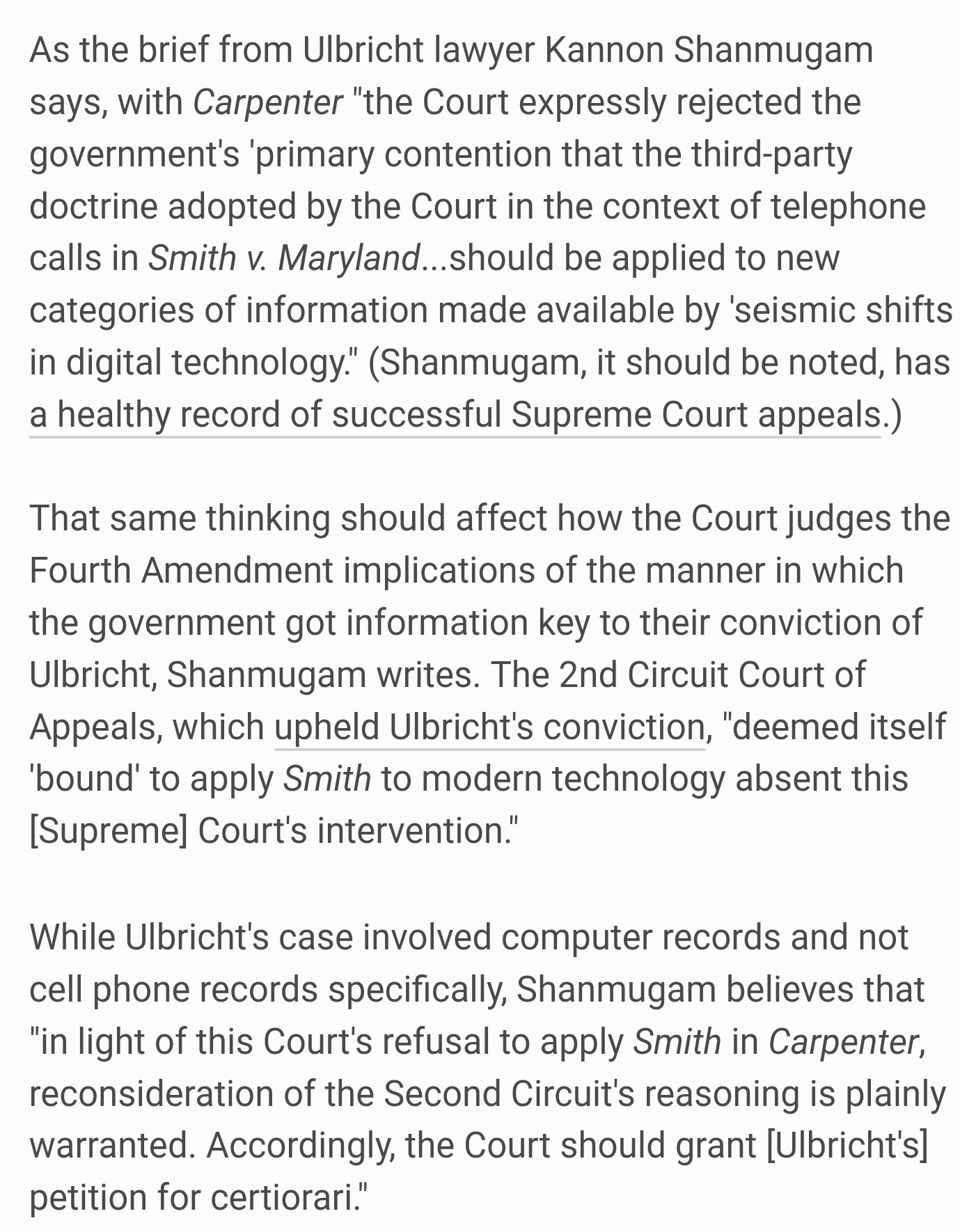 Lead News Stacker Google On Twitter Carpenter Supreme Court 2nd Circuit Of Appeals Decision Should To Rethinking Ross Ulbrichts Conviction Https Tco Y6vudauoxr