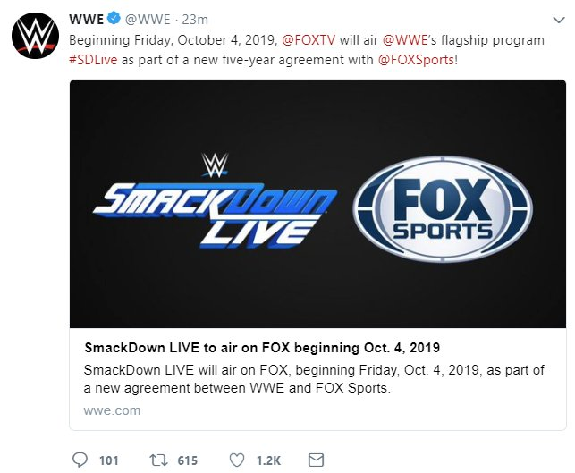 """WWE officially announces Smackdown Live to FOX, as their """"FLAGSHIP"""" show. https://t.co/j1n2kLIKsb"""