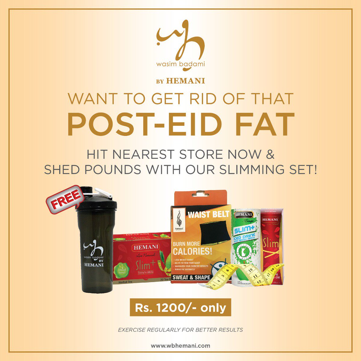 36308c280f4 Shed your Eid fat with WB by Hemani slimming set. Only for Rs 1200/-.  Available in all our outlets and web store. Order Now:  https://goo.gl/waVT34 #WBstores ...