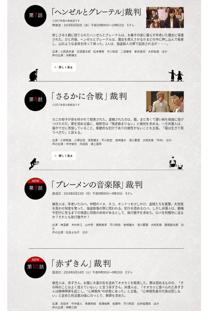 みんなーーーーーッッッッッ!!!!NHKで昔話法廷再放送&新作放映だってーーーーーッッッッッ!!!!!!ヘングレ双子も裁判にかけられるし新作はブレーメンと赤ずきんだってーーーーーッッッッッ!!!!!!