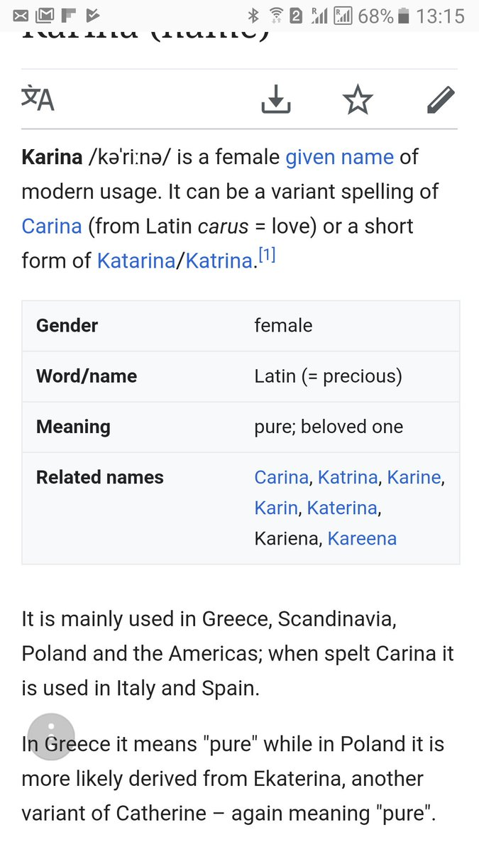 What does the name Karina mean 48