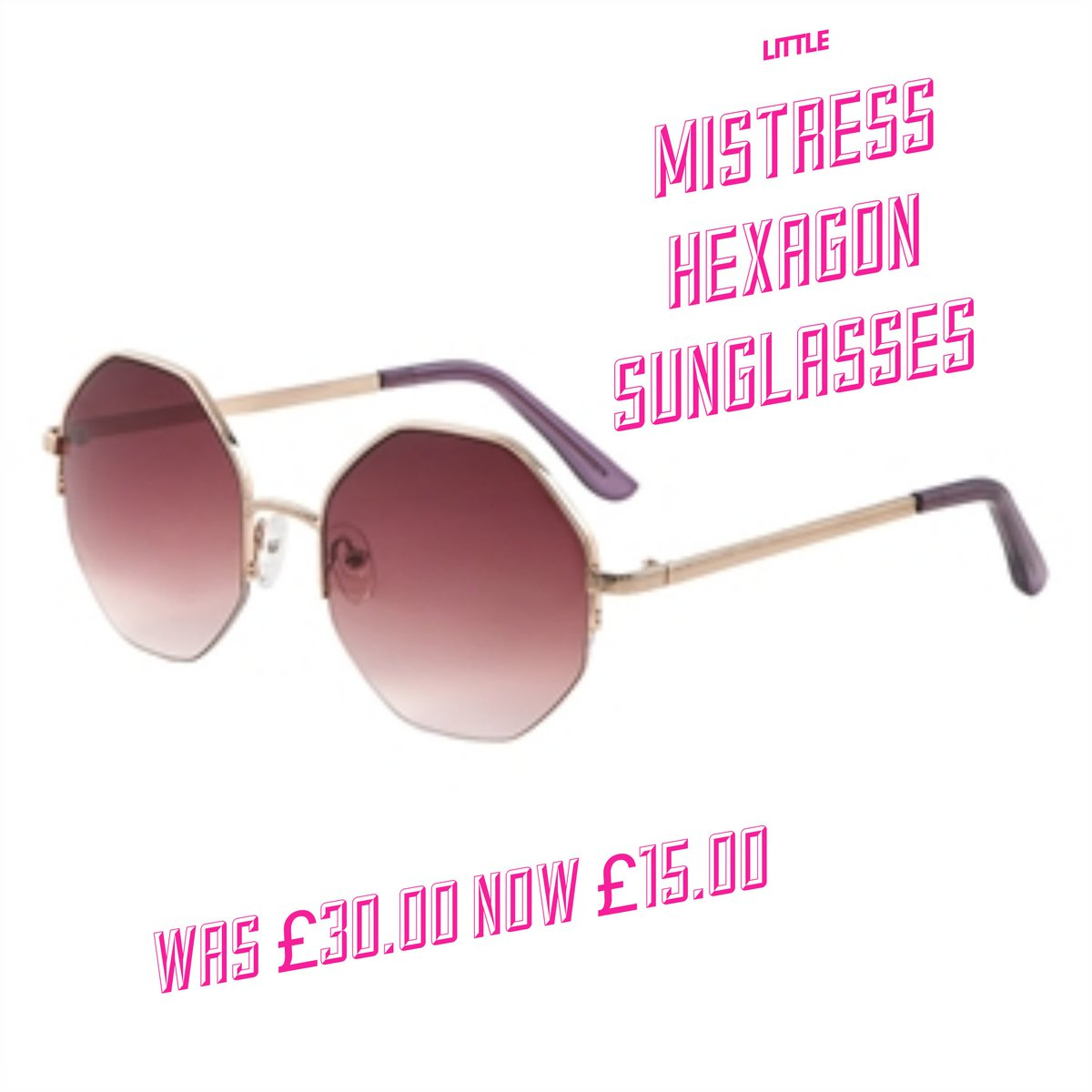 3aec639695 Ombre tinted sunglasses with on-trend hexagon shaped lenses. With Little  Mistress branded case and cloth.White metal alloy.UV Filter category 3.
