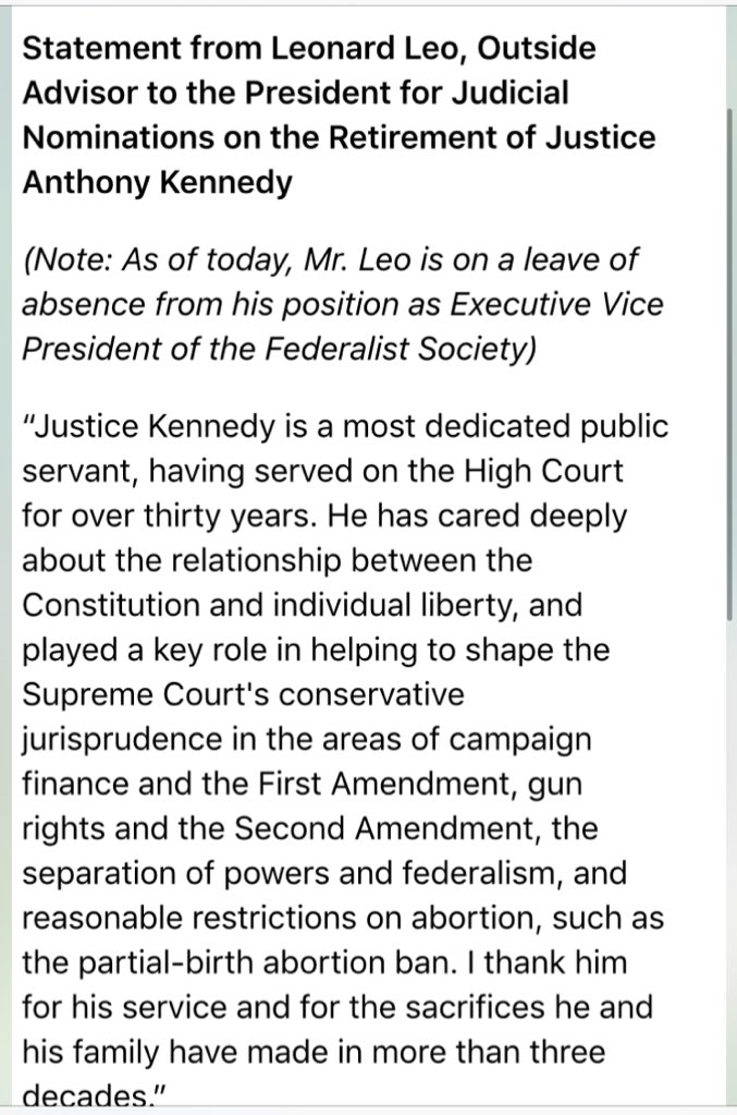 Inbox: Statement from Leonard Leo, Outside Advisor to the President for Judicial Nominations https://t.co/sxEFEOPYfT