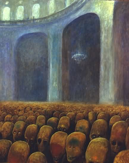 "Adam Zmarz on Twitter: ""One more thought-provoking image of the day #tpiotd  #Beksinski #art #modernart #crowd #obedience #power #surreal #control # surrealism #totalitarianism #symbolism #metaphor #nightmare #horror  #uniform #government #religion ..."