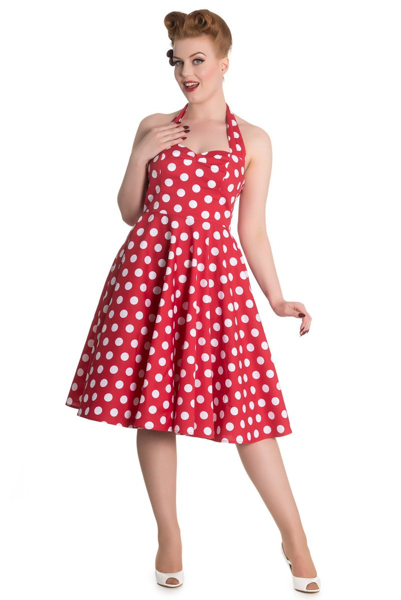 7183ca6dadb75 Hell Bunny 60 s Red and White Polka Dots Halter Flare Party Dress  vintage   style  coat  gothicpillars  gothicaccesories  gothbags  skelitacalaveras  ...
