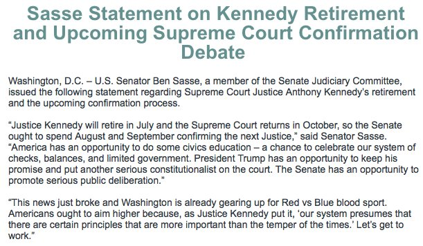 Full statement on Kennedy retirement and upcoming Supreme Court confirmation debate: sasse.senate.gov/public/index.c…