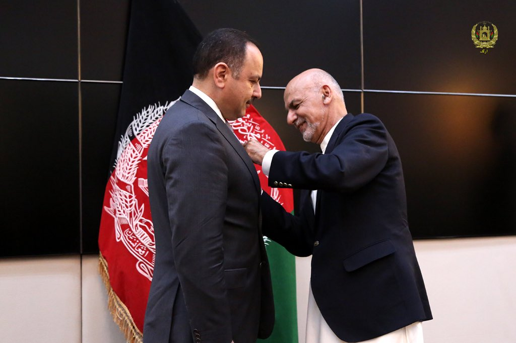 I am grateful to H.E. President @ashrafghani to honor me with the highest medal of Ghazi Amanullah Khan for recognizing & appreciating my work and efforts during the past 3.5 years as Minister of Finance.