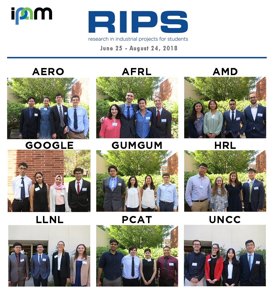 We would like to give a warm welcome to all the students participating in our Research in Industrial Projects for Students (RIPS) summer program! ipam.ucla.edu/programs/stude… #RIPS2018