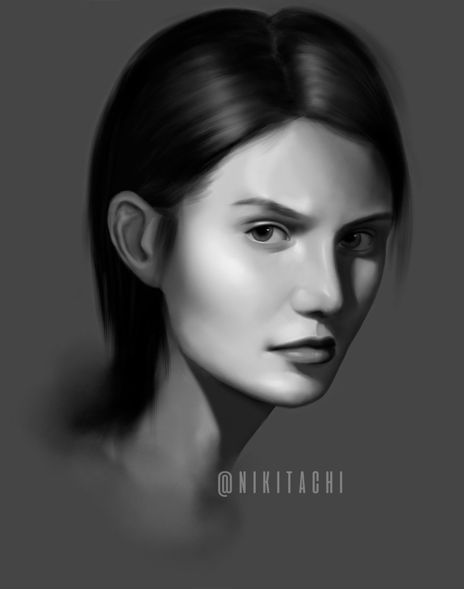 Nikitachi On Twitter Another Grayscale Portrait Study Will I Ever Attempt Color Art Digitalart Painting Digitalpainting Study Artist Deviantart Tumblr Beautiful Graphic Studioghibli Anime Portrait Portraits Hairstyle Cute