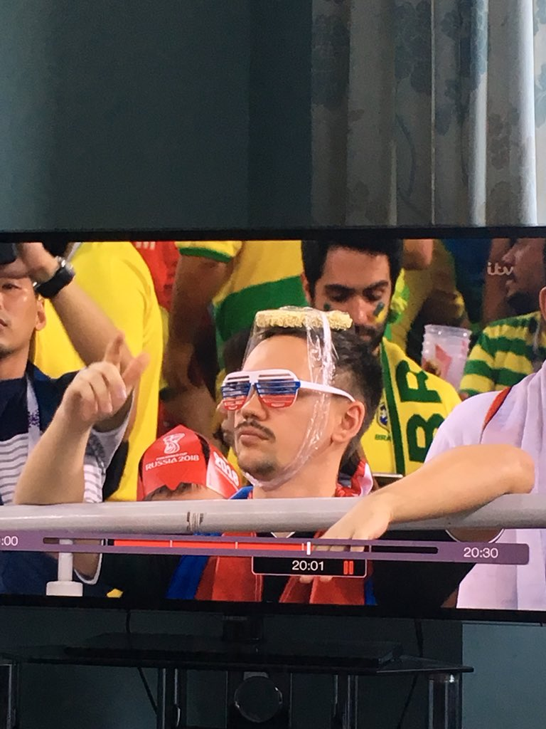 Had to rewind this to see again! 😂 ... Neymar tribute... noodles on his head ...