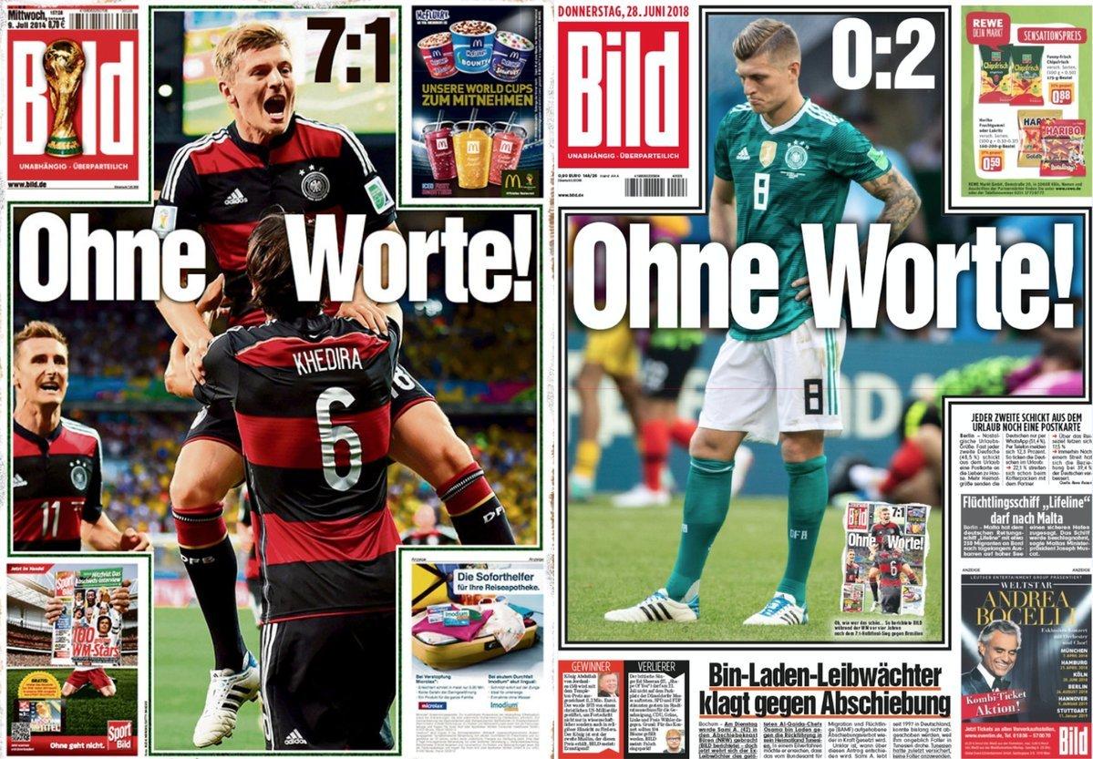 'Sem palavras': tabloide alemão 'Bild' repete sua própria capa do 7 a 1 para falar do vexame de hoje da Alemanha. #copa2018