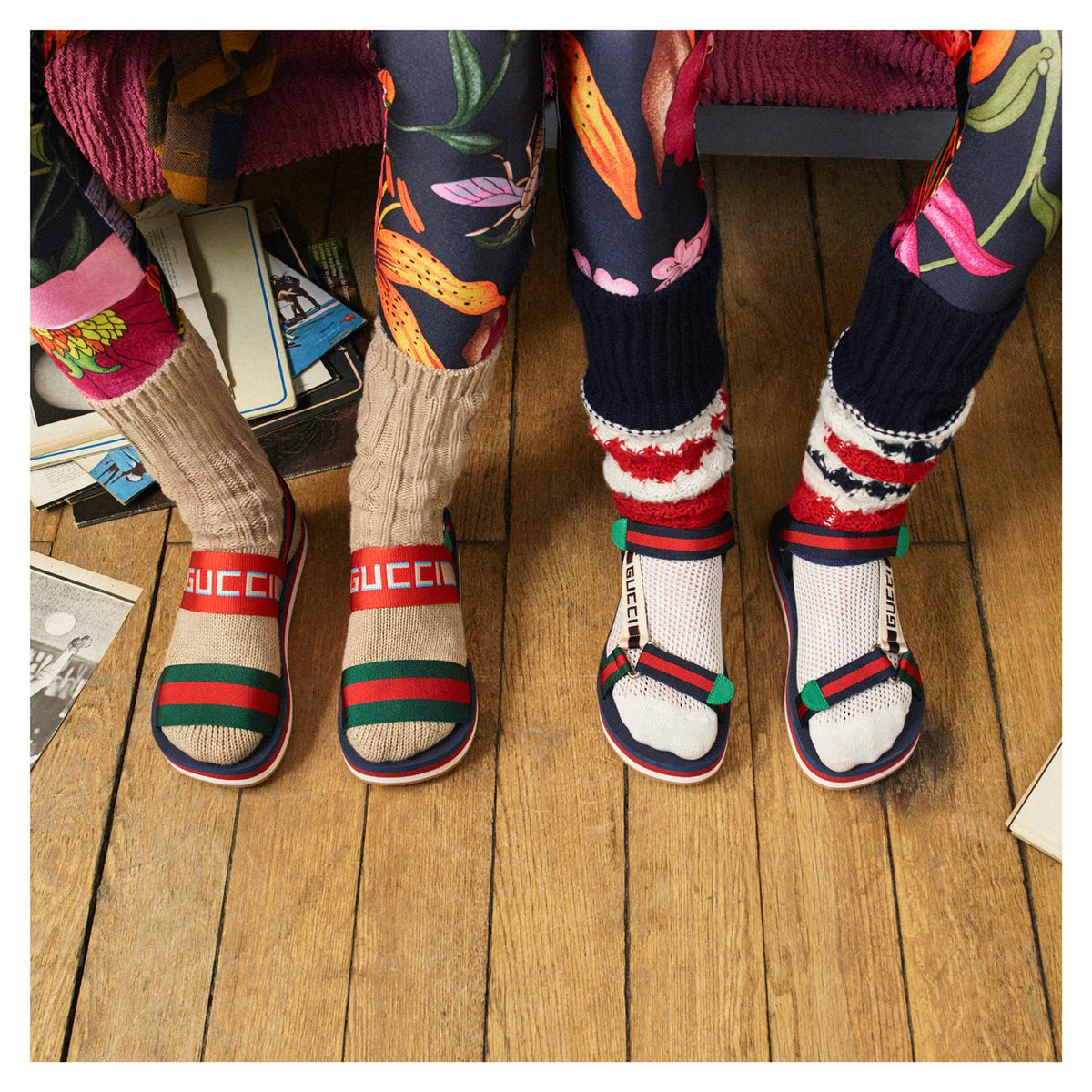 3bbee8d283b89 ... detail worn with floral printed stretch jersey leggings and wool socks.  Discover more http://on.gucci.com/_DansLesRues .pic.twitter.com/iXD1pa5YmF