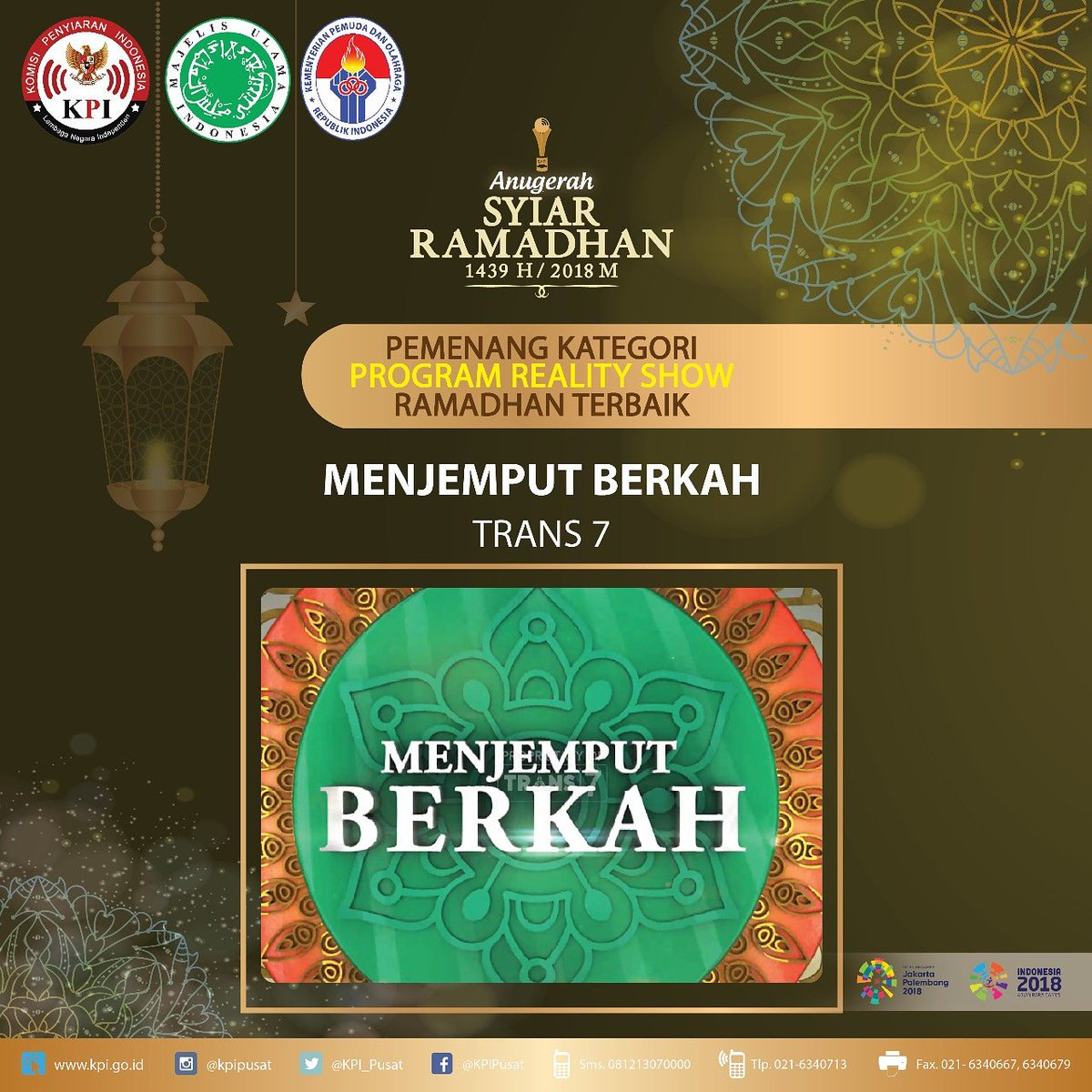 Pemenang anugerah syiar ramadhan 1439h 2018m kategori program reality show ramadhan terbaik menjemput berkahtrans7 trans7